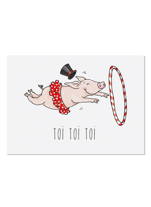 "krima & isa Postkarte ""Toi Toi Toi"" Schwein"