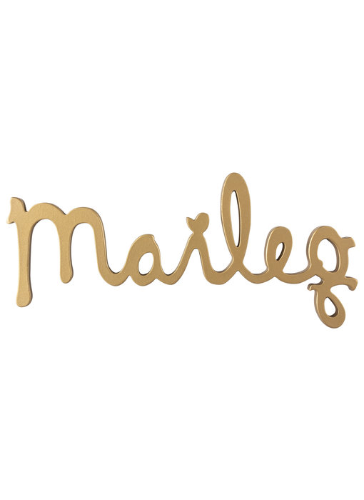 "Maileg Holz Logo ""Maileg"" gold"