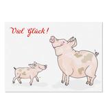 """krima & isa Postkarte """"Viel Glück"""" Schweine"""