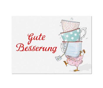 "krima & isa Postkarte ""Gute Besserung"" Huhn"