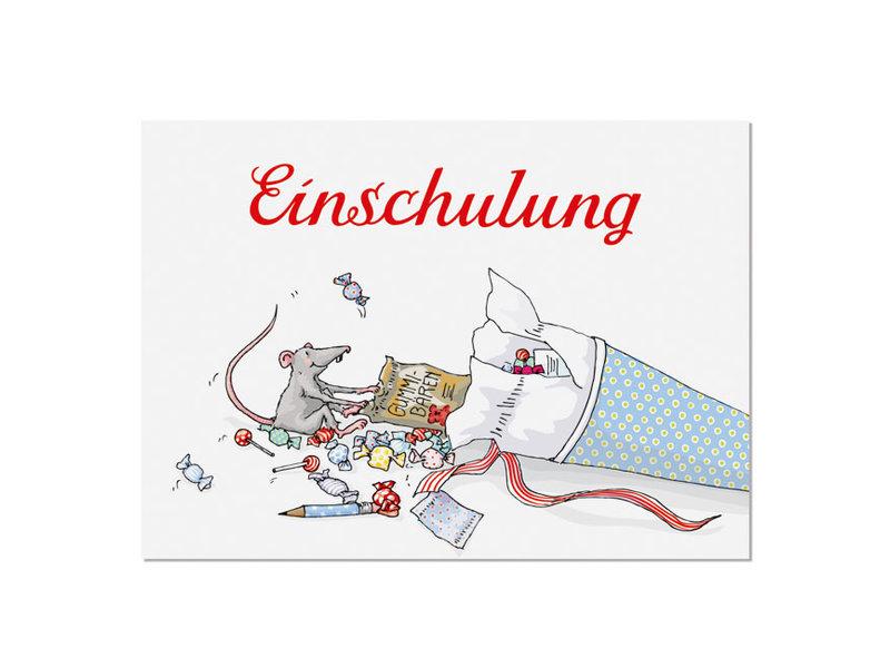 """krima & isa Postkarte """"Einschulung"""" Schultüte"""