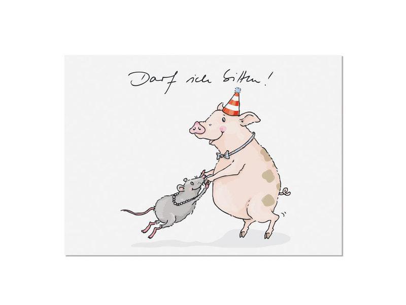 """krima & isa Postkarte """"Darf ich bitten!"""" Schweinetanz"""