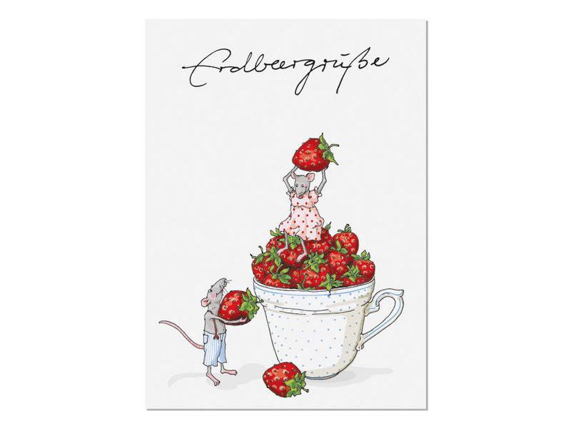 krima & isa Postkarte Erdbeergrüße