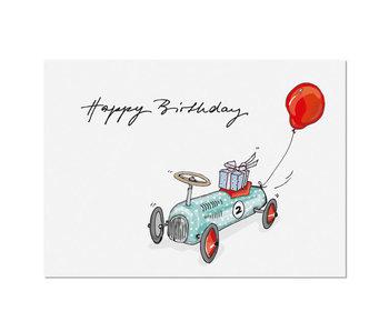 """krima & isa Postkarte """"Happy Birthday"""" Wagen"""