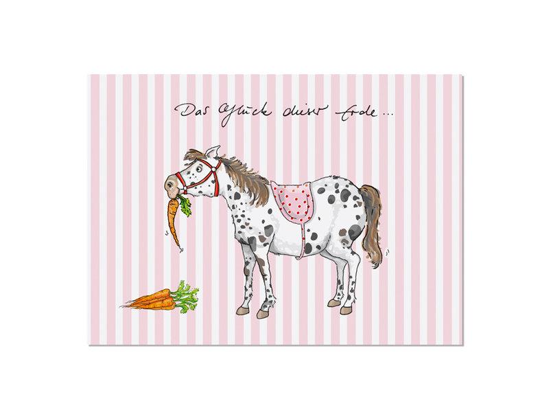 """krima & isa Postkarte """"Das Glück dieser Erde..."""" Pony"""