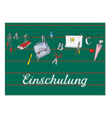 "krima & isa Postkarte ""Einschulung"" grün"