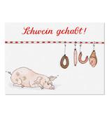 krima & isa Postkarte Schwein gehabt