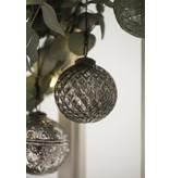 IB LAURSEN Weihnachtskugel Harlekinmuster silber, groß