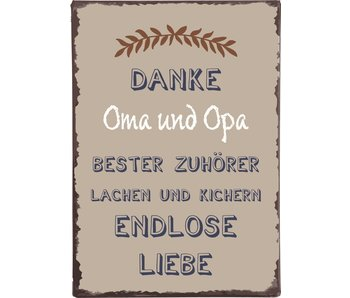 "IB LAURSEN Metallschild ""Danke Oma und Opa..."""