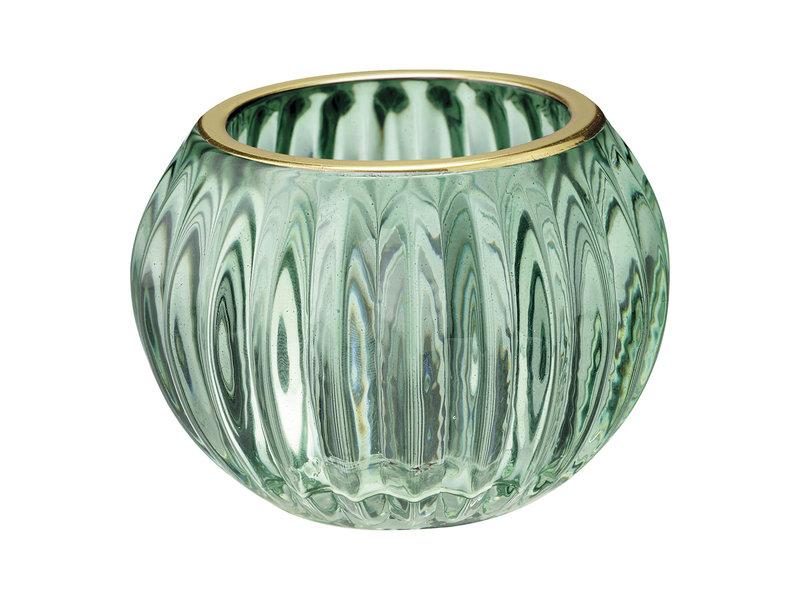 "GreenGate ""Teelichtglas"" green mit gold, small"