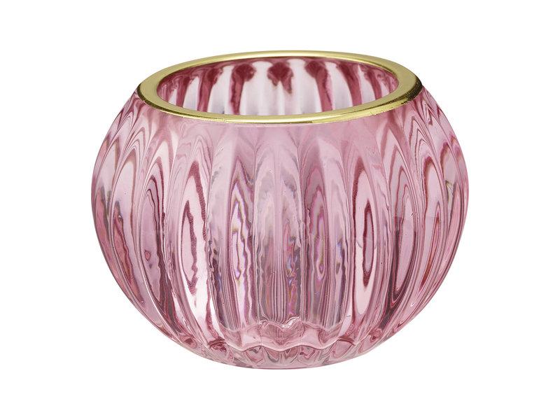 """GreenGate """"Teelichtglas"""" pink mit gold, small"""