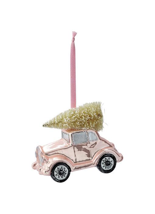 "GreenGate Baumschmuck ""Car glass Nicoline pale pink"" small"