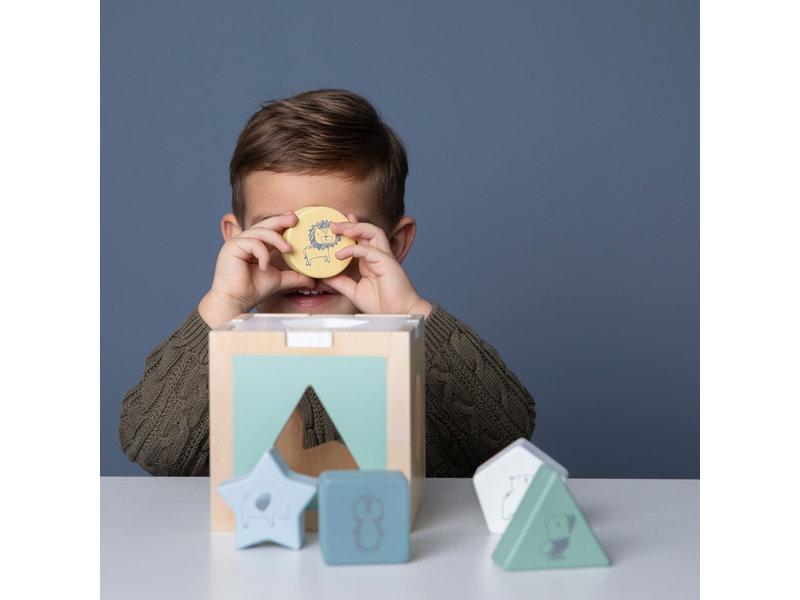 "Little Dutch Holz ""Formen-Steck-Spiel Zoo"" blau"