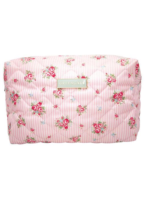 "GreenGate Waschbeutel ""Wash bag Abigail stripe pale pink"" large"