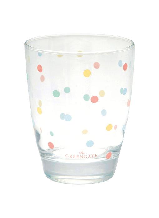 """GreenGate Wasserglas """"Multi dots white"""""""