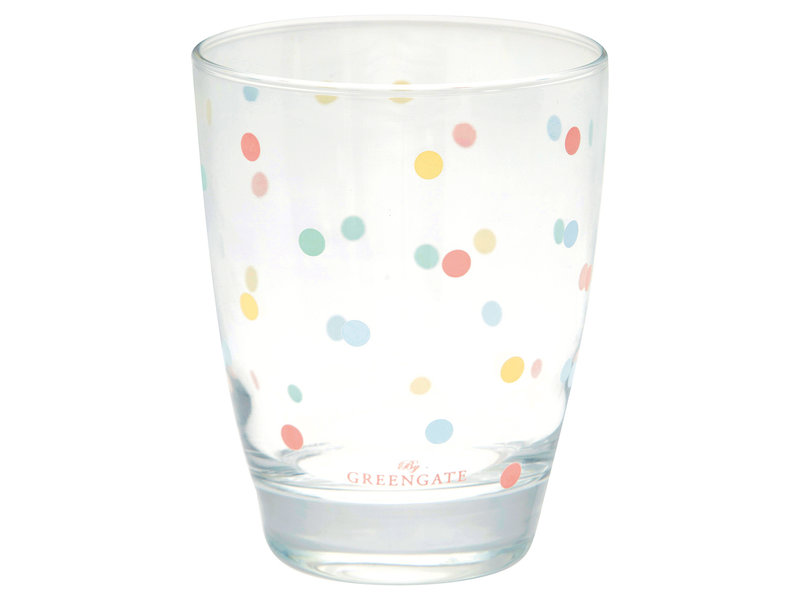 "GreenGate Wasserglas ""Multi dots white"""