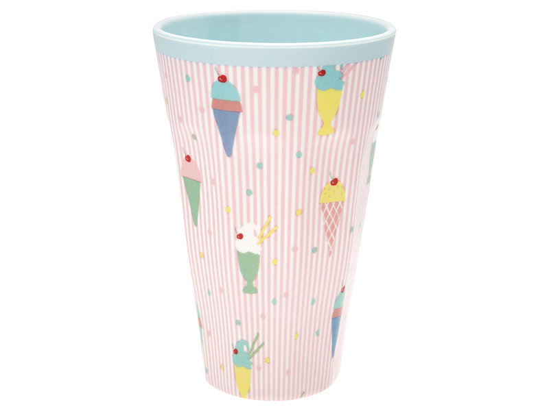 "GreenGate Melamin Becher ""Tall cup Isa pale pink"" Groß"