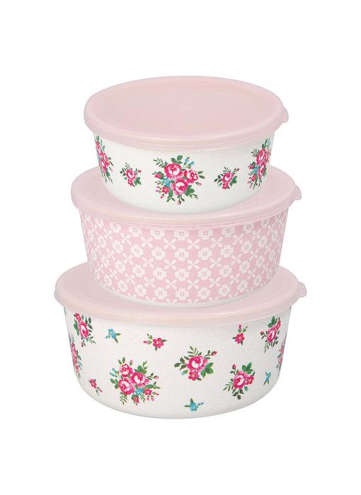 "GreenGate Vorratsdosen Round box ""Constance white"" Set 3 Stk."