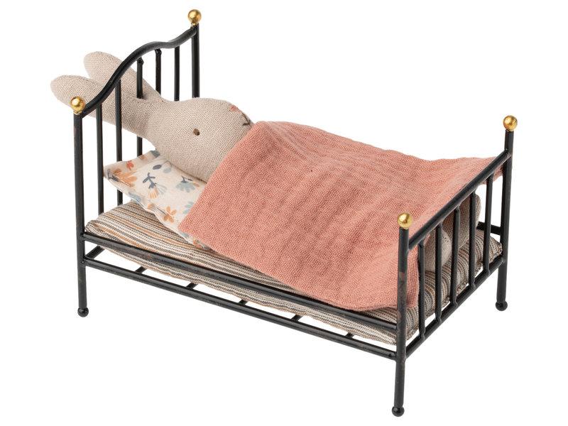 """Maileg Hasen """"Vintage Bett"""" Anthracite, my"""