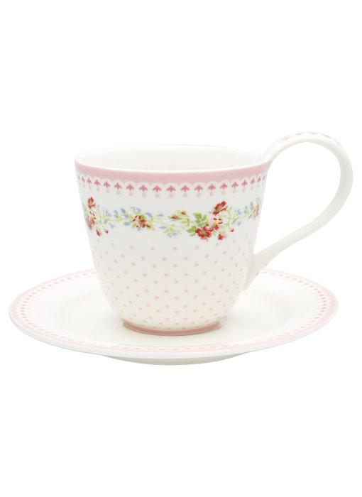 """GreenGate Tasse mit Unterteller """"Cup & saucer Sinja white"""""""
