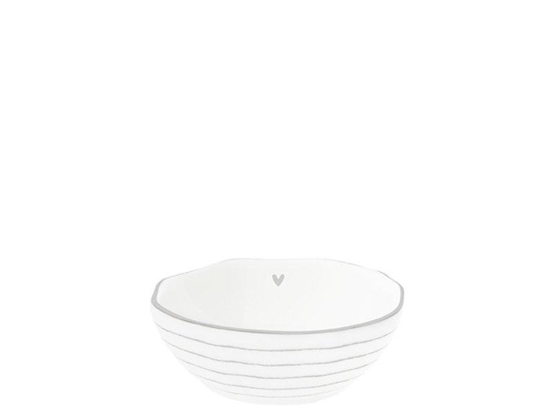 """Bastion Collections Bowl Sauce """"Streifen mit Herz """" grau, 7x8x3cm"""