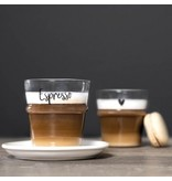"Bastion Collections Espresso Glas ""Herz"" schwarz"