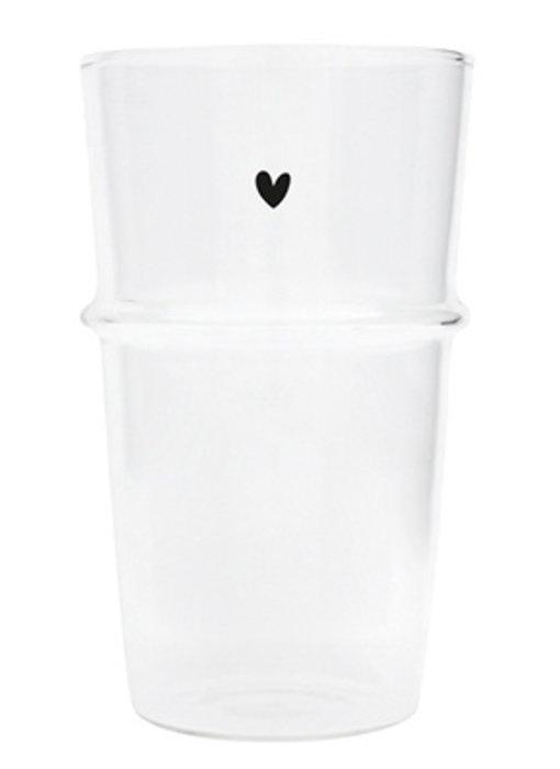 """Bastion Collections Latte Macchiato Glas """" Herz"""" schwarz"""