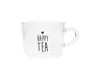 "Bastion Collections Teeglas ""Happy Tea"" schwarz"