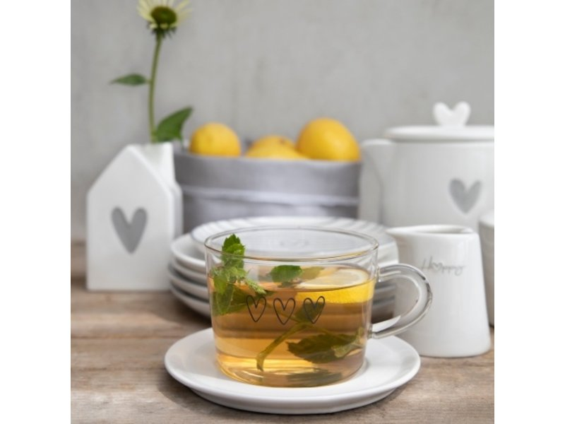 """Bastion Collections Teeglas """"Happy Tea"""" schwarz"""