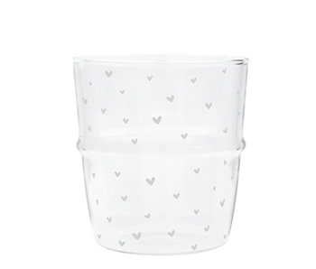 "Bastion Collections Wasserglas ""Herzen"" grau"