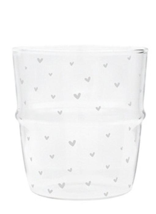 """Bastion Collections Wasserglas """"Herzen"""" grau"""
