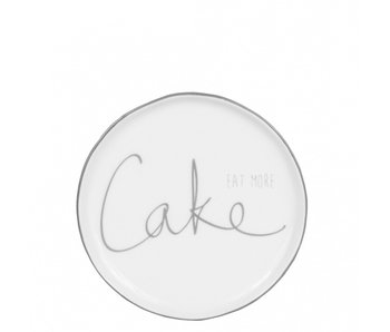 "Bastion Collections Kuchenteller ""eat more Cake"" grau"