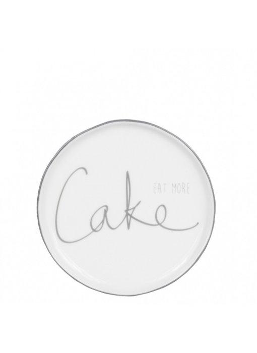 "Bastion Collections Kuchenteller ""eat more Cake"" grau"