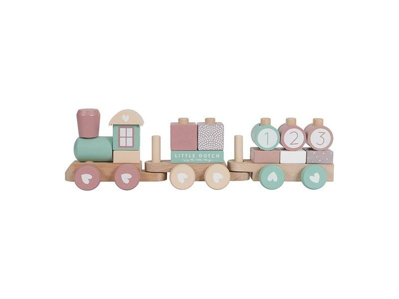 Little Dutch Holz-Eisenbahn mit Formen, Adventure pink Buchenholz