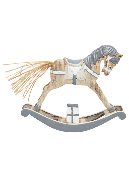 GreenGate Decoration rocking horse grey small