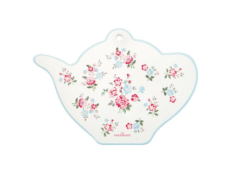 """GreenGate Untersetzerbrett Teekanne """"teapot Sonia white"""" Keramik"""