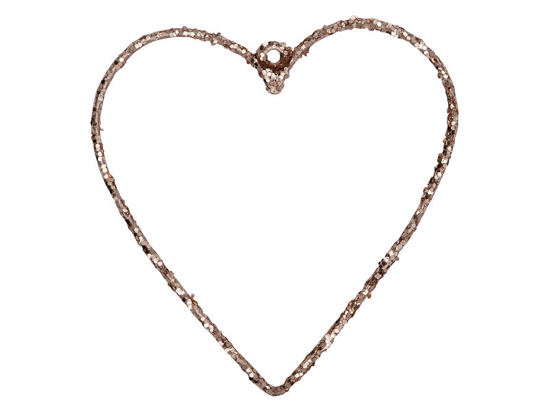 GreenGate Heart hanging champagne small