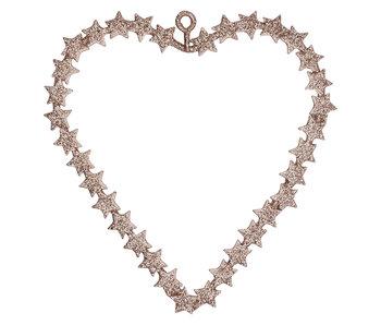 GreenGate Heart hanging glitter w/stars small