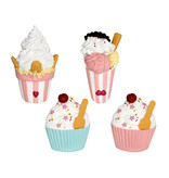 GreenGate Magnet Ice cream pastel mix set of 4