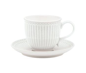 """GreenGate Tasse mit Unterteller """"Cup & saucer Alice"""" white"""
