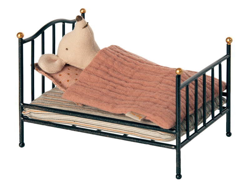Maileg  Vintage bed Mouse Anthracite
