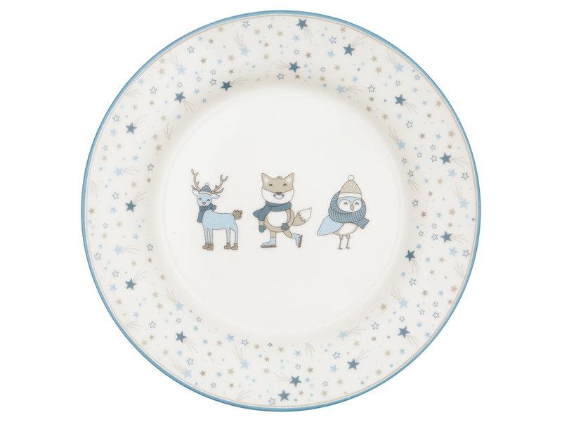 """GreenGate Kinder Teller """"Kids plate Forrest"""" pale blue"""