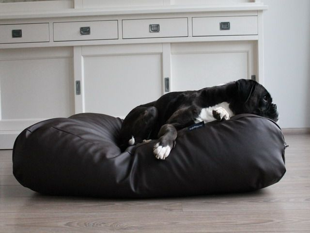 Dog's Companion® Hondenbed chocolade bruin leather look extra small