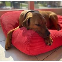 Hondenbed rood ribcord