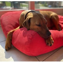 Hondenbed rood ribcord small
