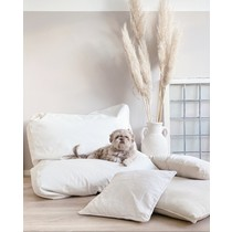 Hondenbed ivory leather look extra small