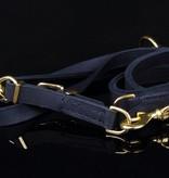 Leren hondenriem 220 cm (verstelbaar, exclusive gold, messing)