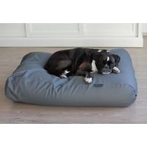 Hondenbed muisgrijs leather look medium