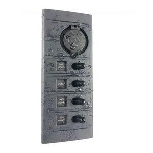 Connex Schakelpaneel 4 schakelaars met 12V stopcontact