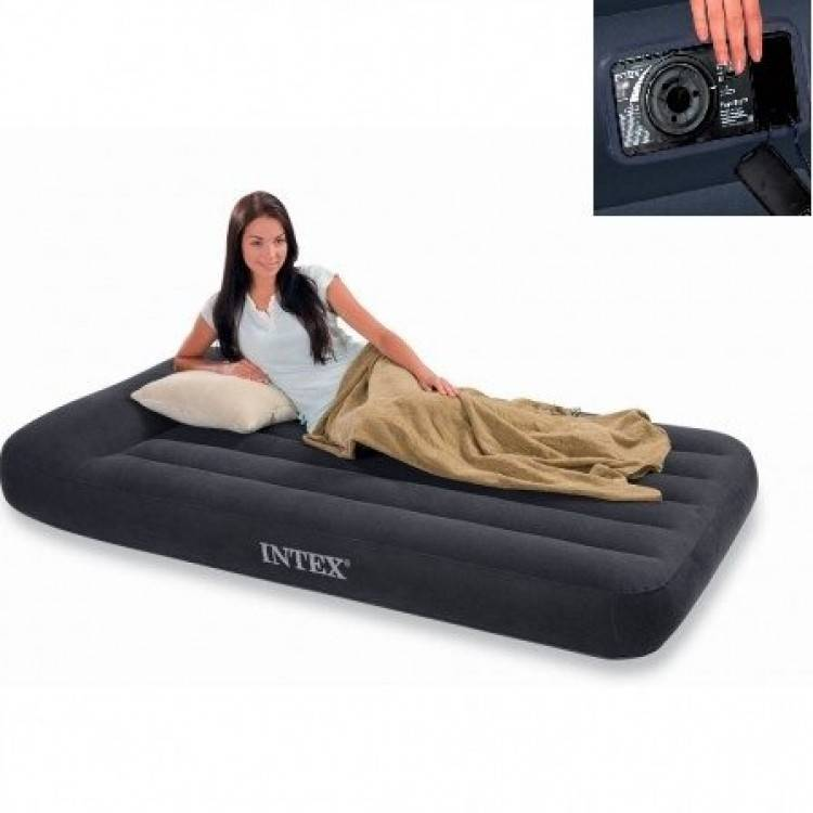 Intex Luchtbed Twin Pillow Rest Classic Ruim Eenpersoons ( incl. Motorpomp )